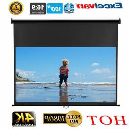 100'' Inch 16:9 Manual Pull-Down 1080P 3D DTV Projector Scre