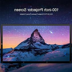 100 Inch Manual 16:9 Projector Projection Screen Home Theate