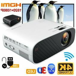4K 1080p HD FHD LED Smart Home Theater Projector USB Wifi 3D