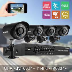 FLOUREON 4CH 1080N AHD DVR 4x Outdoor 1500TVL IR-CUT Home Ca