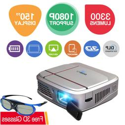 1080P Mini DLP Pocket 3D Projector Wifi Airplay Miracast For