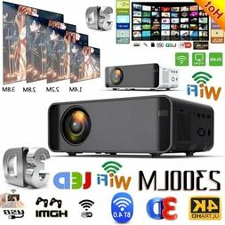 23000LM LED Smart Home Theater Projector 4K Wifi BT 1080p FH