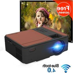 Portable HD Smart Projector 1080P Android 6.0 Native 720p Bl