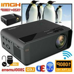 4K 3D WiFi Wireless LED Projector Android 6.0 BLuetooth 1080