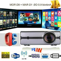 4K 3D Wireless WiFi LED Projector Android BT HD 1080P Smart