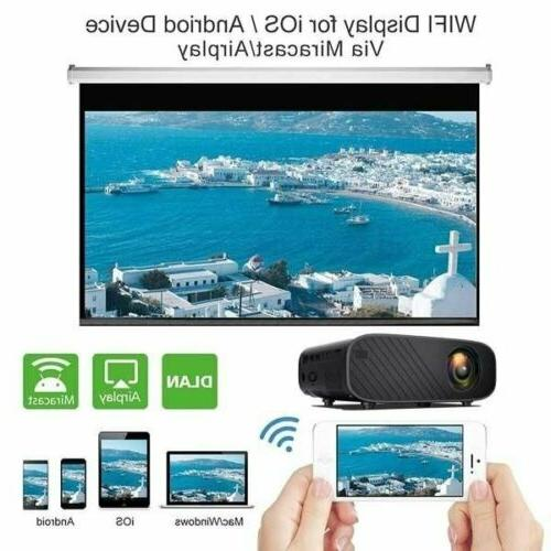 4K 1080p LED Smart Home Projector USB Wifi Video