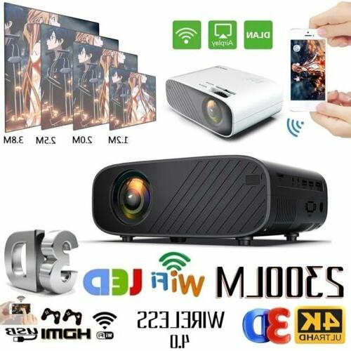 LED Smart Home Theater Projector Wifi 18000Lumens 1080p HD 3
