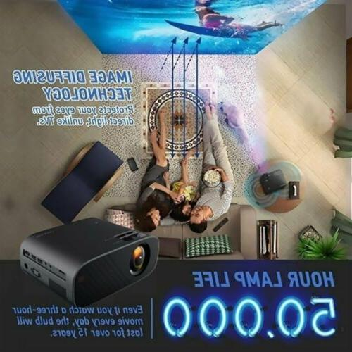 LED Home Projector 18000Lumens 1080p HD Movie USB