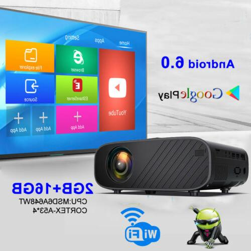4K 3D WiFi LED Projector Android 6.0 BT 1080P HD Home