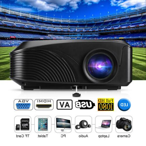 FHD 1080P 3D 5000Lumens LED Projector Home Theater TV Video