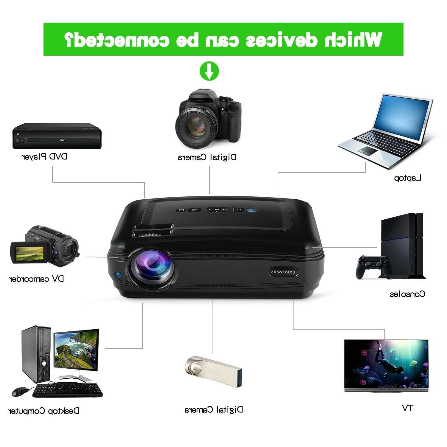 FHD Portable LCD Video Projector for Game Movie