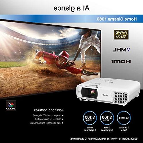 Epson Home Cinema Full HD lumens color brightness 3,100 lumens white brightness HDMI built-in 3LCD projector