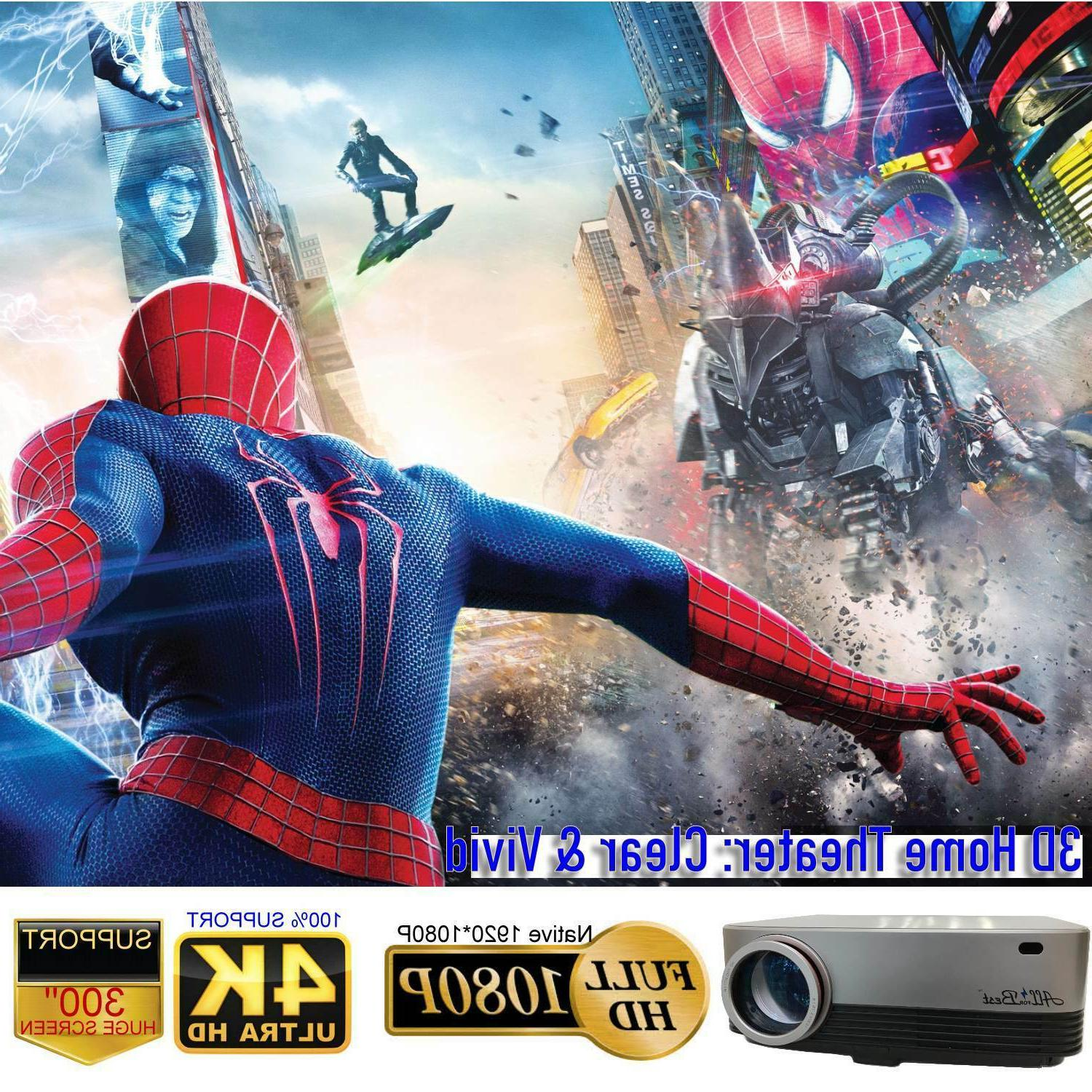 AllForBest 1080P Projector Support 4K for Theater