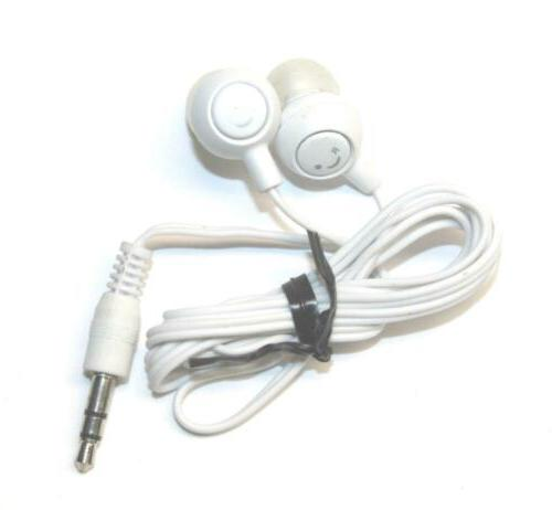 white stereo earbuds in ear headphone